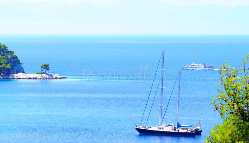 绿松石水、松树和斯科派洛斯岛,希腊岩石海岸线  图库摄影