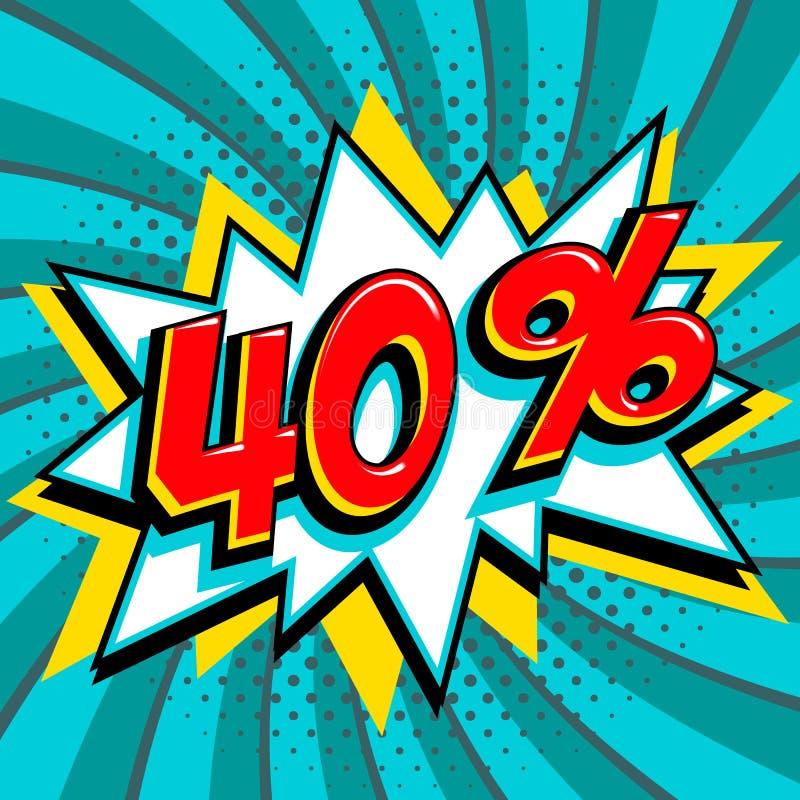 绿松石销售横幅的40百分之四十 在黄色轰隆形状和青绿色打旋的背景的红色数字 大销售额 库存例证