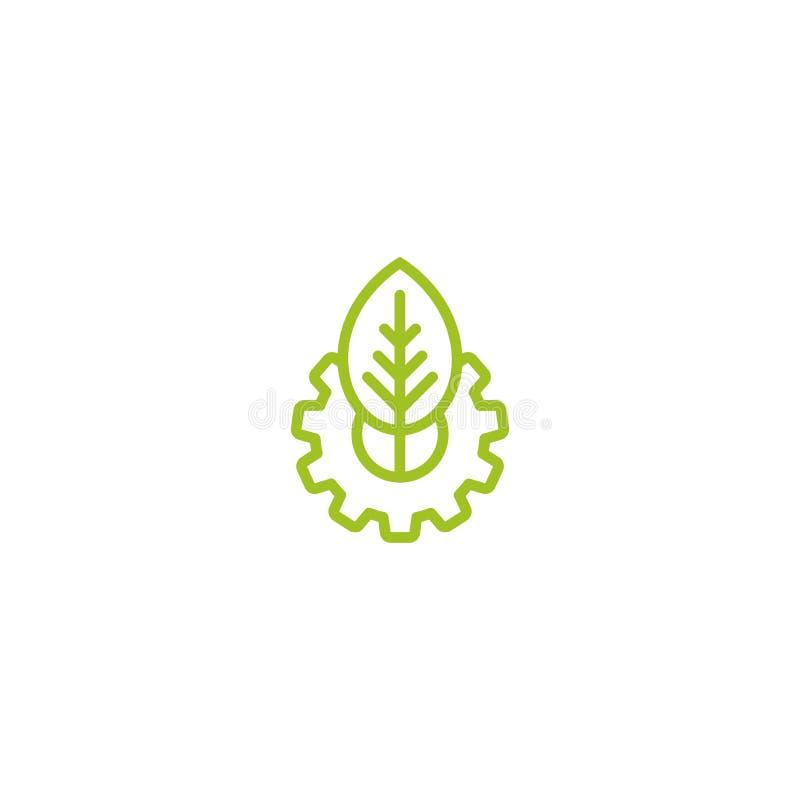 绿线机械齿轮和绿色叶子 隔绝在白色背景 Eco友好的技术象 皇族释放例证