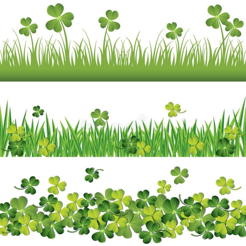 绿色三叶草边界为圣帕特里克` s天卡片设置了 皇族释放例证