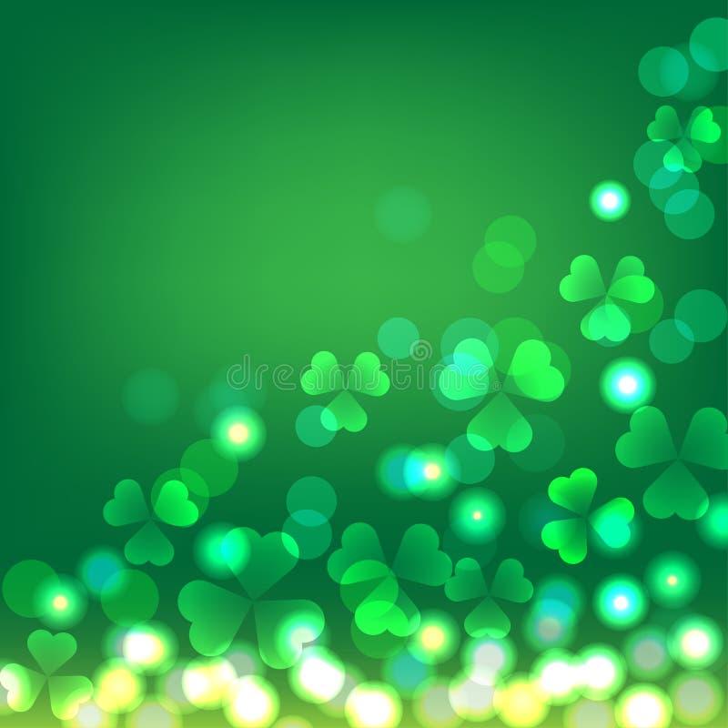 绿色三叶草bokeh背景为圣帕特里克` s天 向量例证