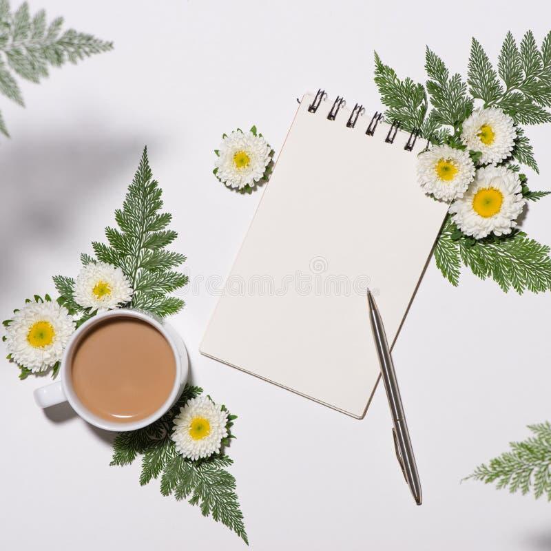 绿色与咖啡的叶子和花纹花样平的位置  库存照片