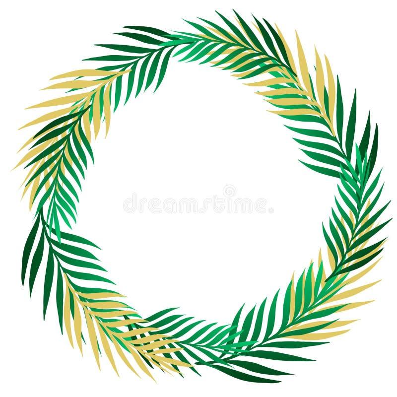 绿色与异乎寻常的密林棕榈树的夏天热带边界框架花圈 在轻的米黄背景的被隔绝的传染媒介设计元素 库存例证
