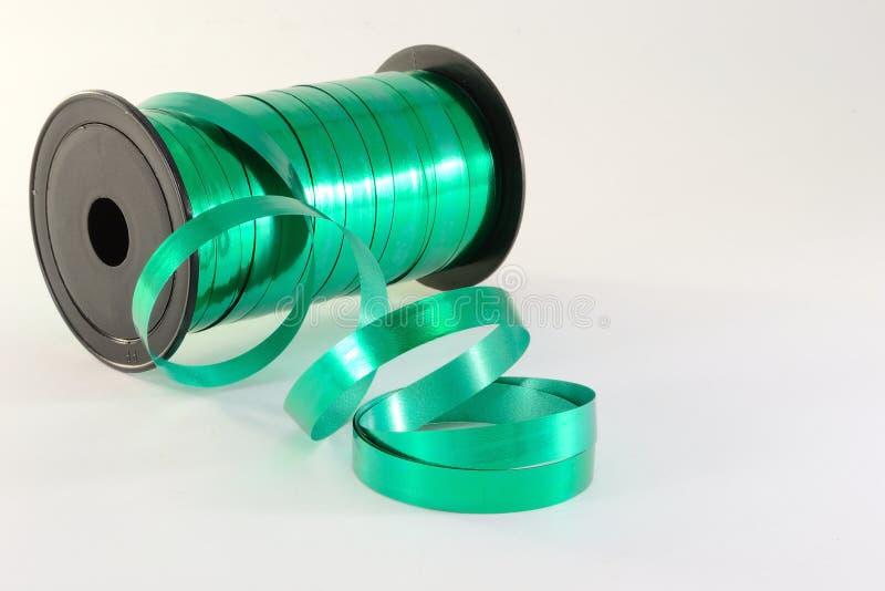 绿色丝带卷 库存图片