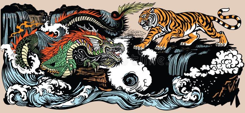 绿色中国龙和老虎例证 库存例证