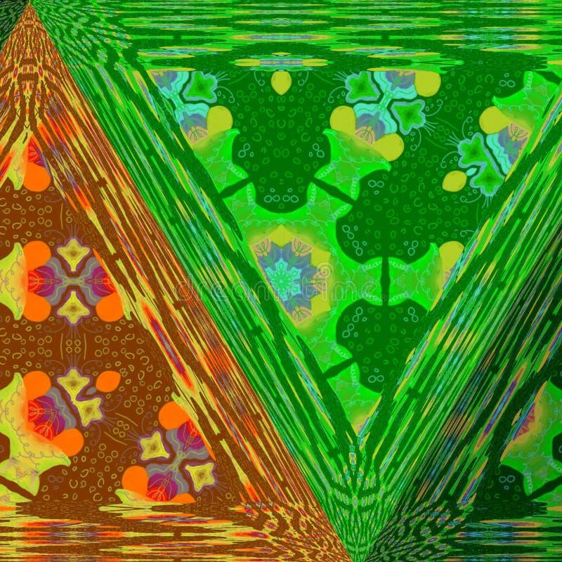 绿色五颜六色的三角和橙色透明样式 库存例证
