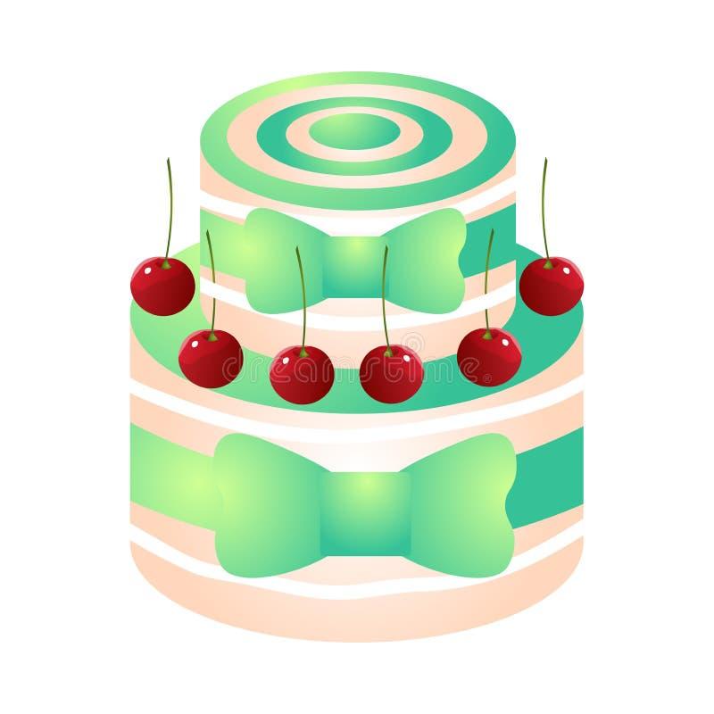 绿色五颜六色的生日蛋糕用红色eco樱桃 皇族释放例证
