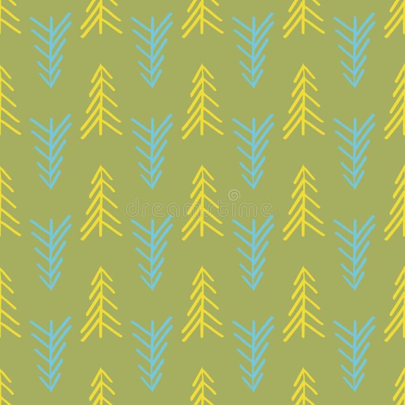 绿色人字形树无缝的重复样式 皇族释放例证