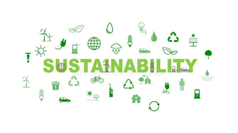 绿色企业模板和背景持续力概念的与平的象 图库摄影
