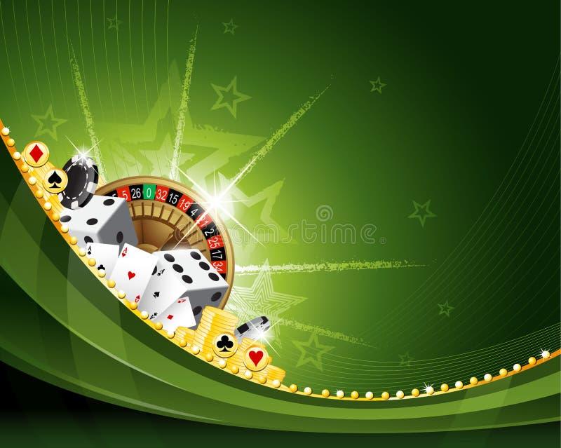 绿色传染媒介挥动的赌博娱乐场背景设计 皇族释放例证