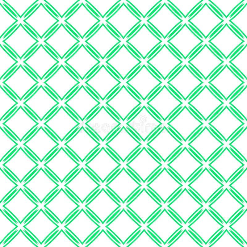 绿色传染媒介无缝的样式 抽象几何模板背景 重复的装饰纹理 新鲜不尽 皇族释放例证