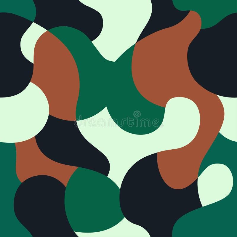 绿色伪装样式背景 无缝的卡其色的绿色伪装 卡莫纹理 ?? 库存例证