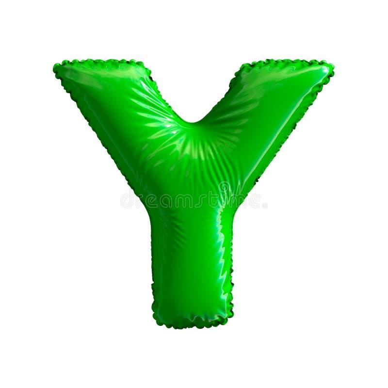绿色信件Y被隔绝的由可膨胀的气球制成在白色背景 图库摄影