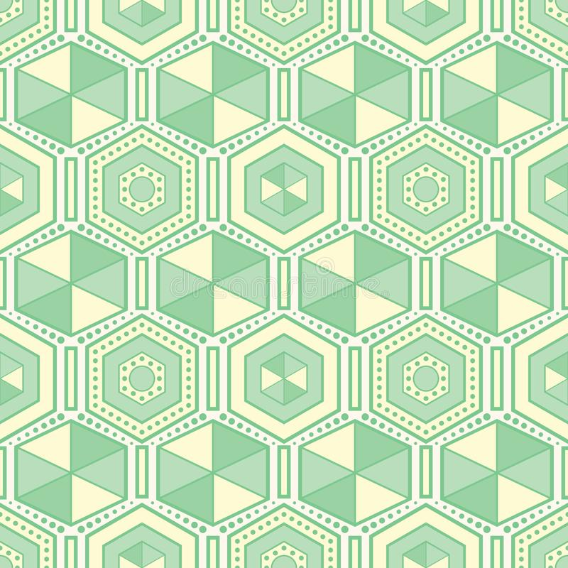绿色六角形几何传染媒介无缝的样式 皇族释放例证