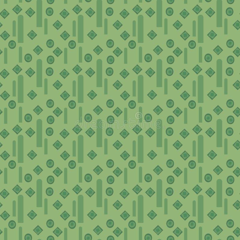 绿色几何与黑暗的小菱形和垂直条纹的传染媒介无缝的样式 库存例证