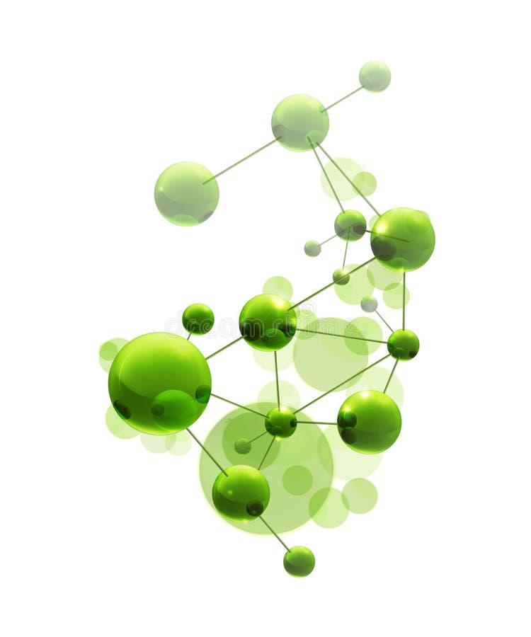 绿色分子 向量例证