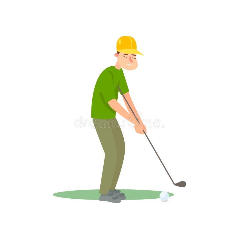 绿色制服和黄色帽子准备好反撞力球的高尔夫球运动员 皇族释放例证
