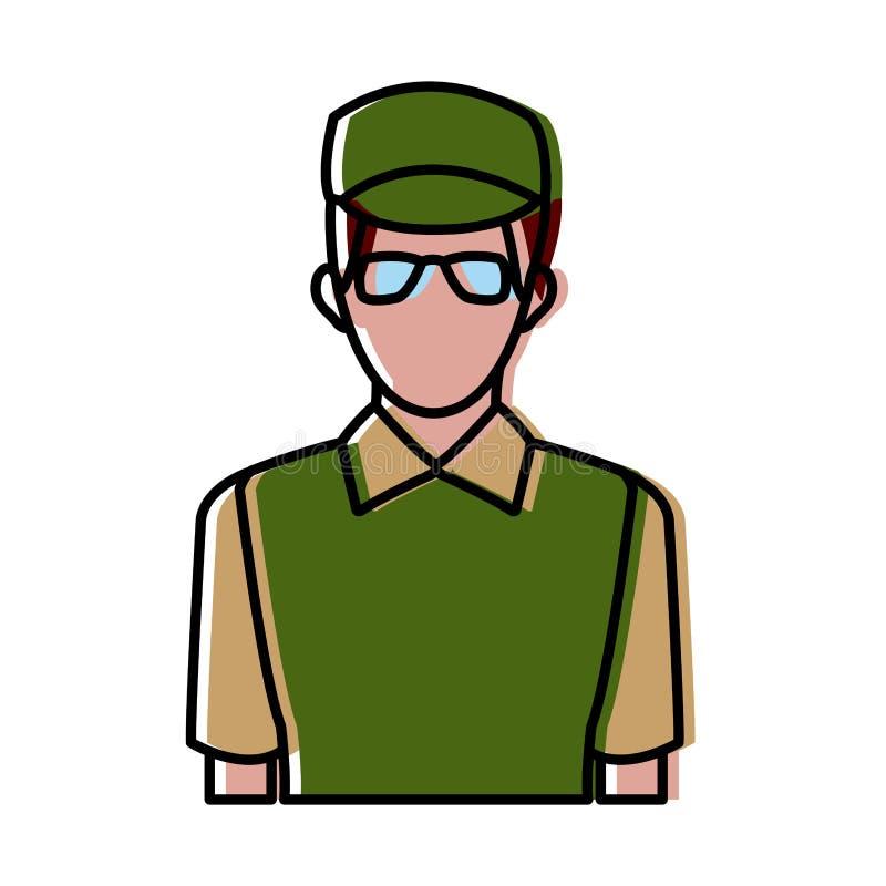 绿色制服的送货人有玻璃和体育盖帽的 向量例证