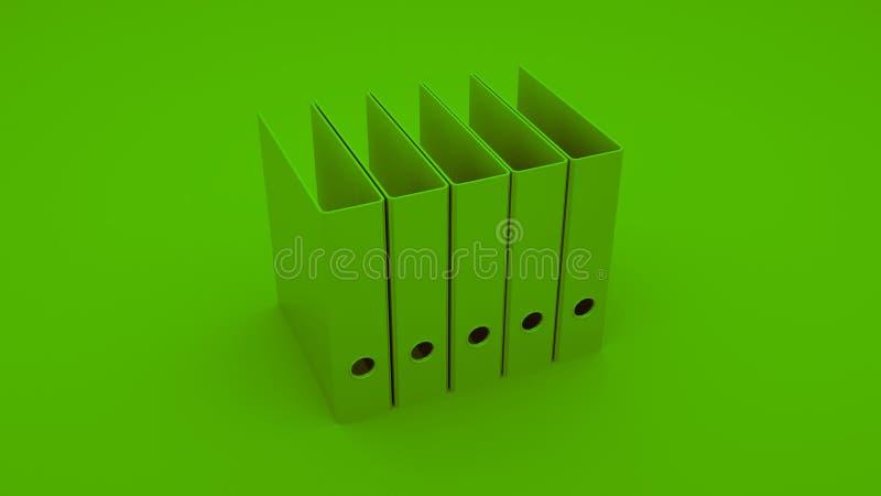 绿色办公室圆环包扎工具 3d例证 向量例证