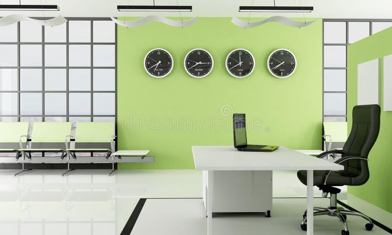 绿色办公室空间等待 向量例证