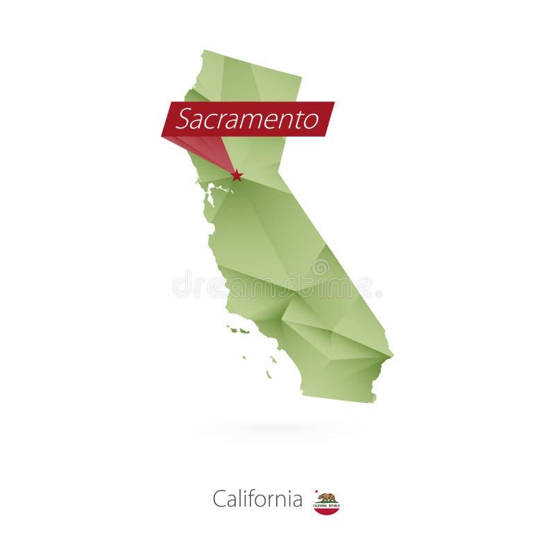 绿色加利福尼亚梯度低多地图有首都的萨加门多 向量例证
