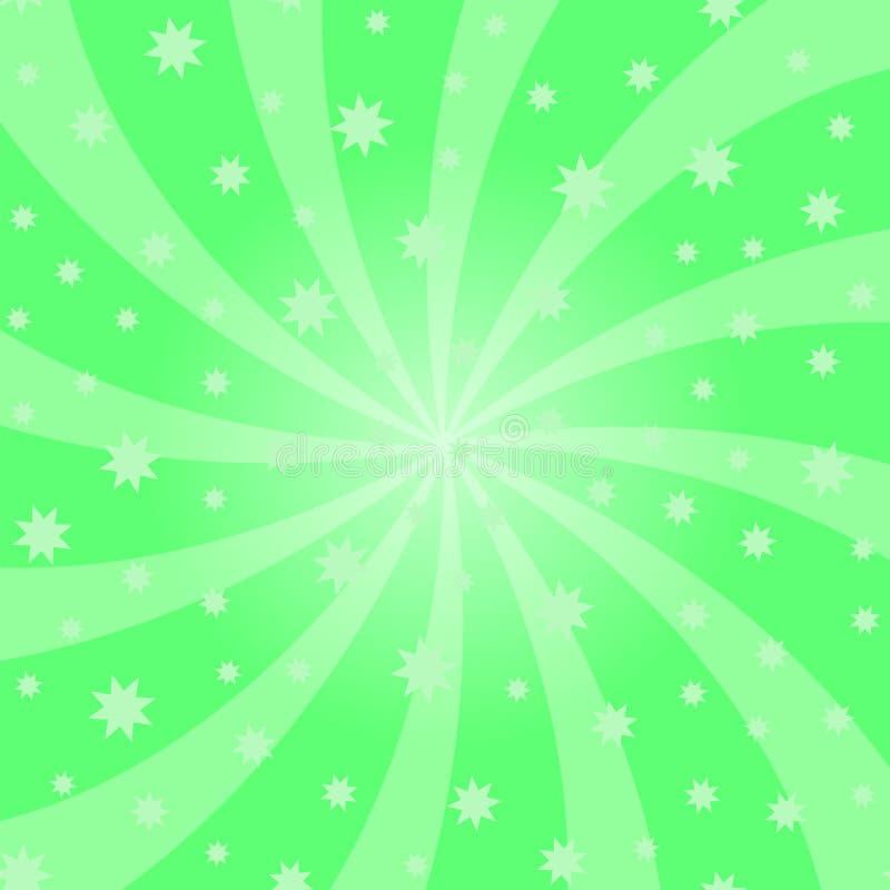绿色动画片漩涡设计 漩涡starburst螺旋转动正方形 螺旋自转光芒 打旋的辐形满天星斗的样式 向量例证
