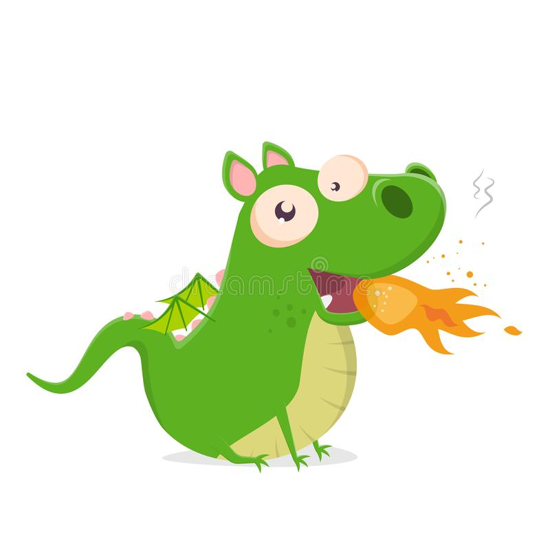 绿色动画片龙吐火的传染媒介例证 向量例证