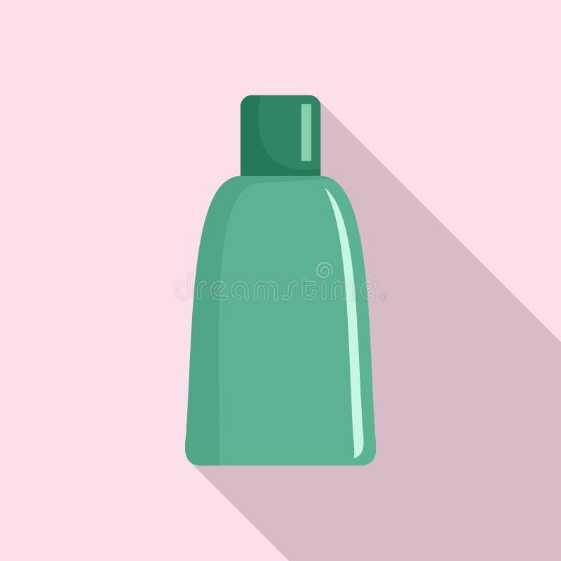 绿色化妆瓶象,平的样式 库存例证