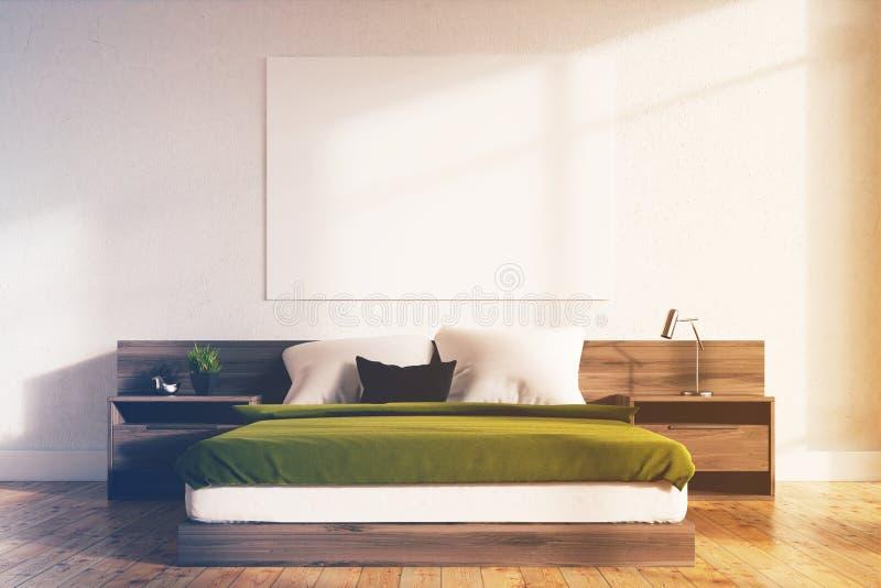 绿色卧室内部,被定调子的海报 皇族释放例证