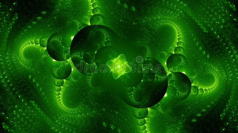 绿色发光的外籍人技术计算机生成的抽象背景 库存例证