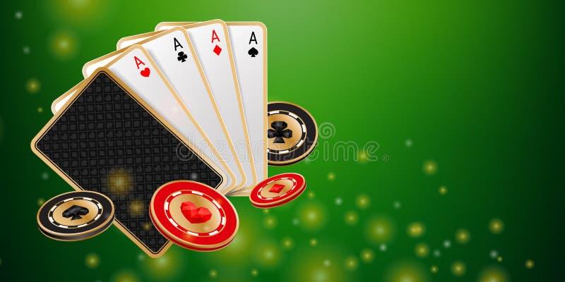 绿色发光的赌博娱乐场横幅 皇族释放例证