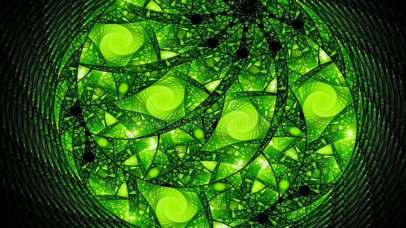 绿色发光的通报彩色玻璃分数维摘要背景 库存例证