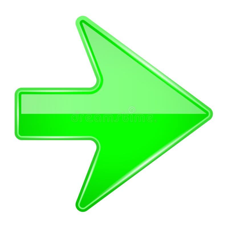 绿色发光的3d箭头 库存例证