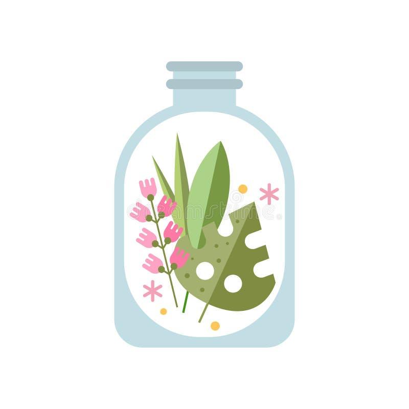 绿色叶子和轻拍在透明瓶子的桃红色花 在装饰玻璃的花卉构成 家的平的传染媒介 向量例证