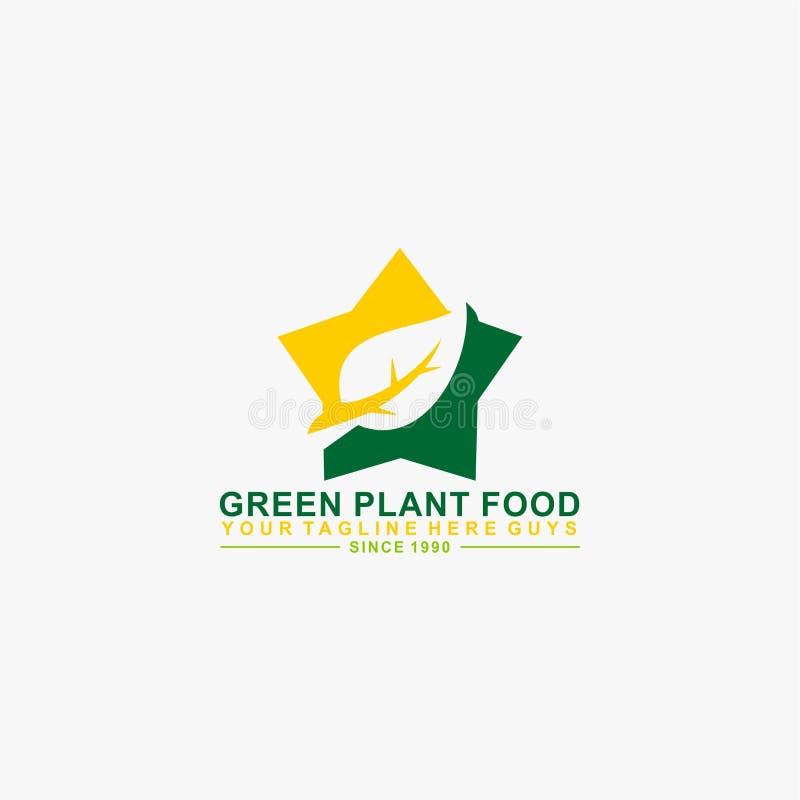 绿色叶子星形状自然商标设计 皇族释放例证