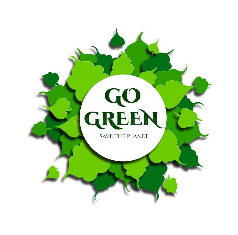 绿色叶子框架在纸被削减的样式的 文本是绿色,保存行星 向量 库存例证