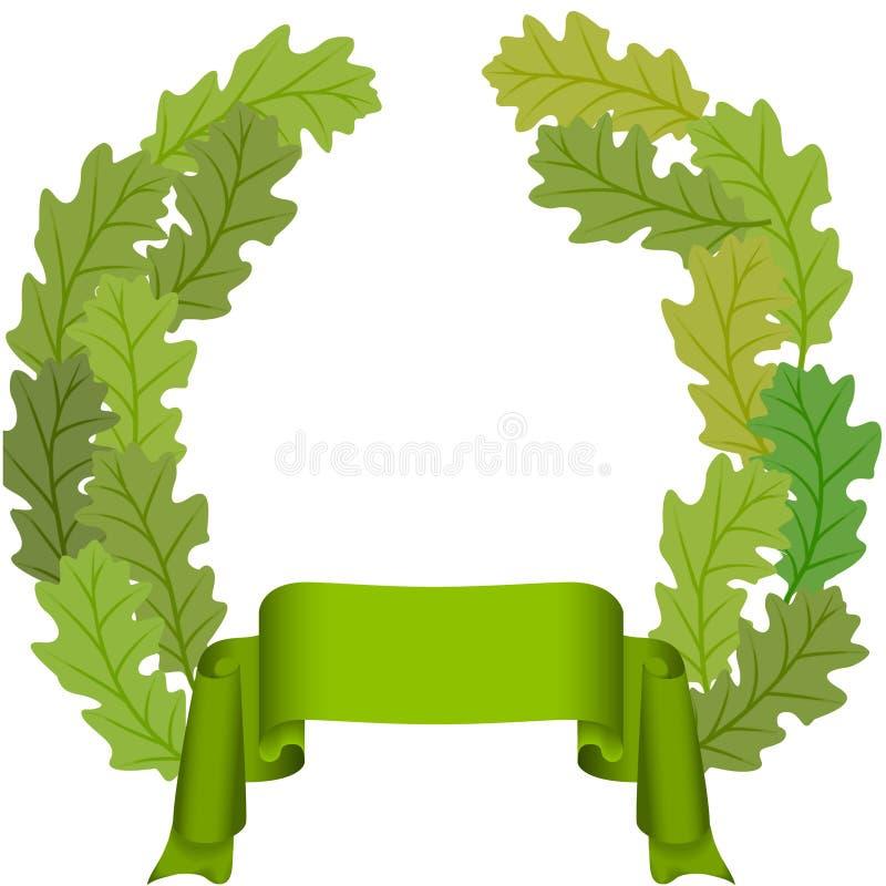 绿色叶子橡木丝带 皇族释放例证