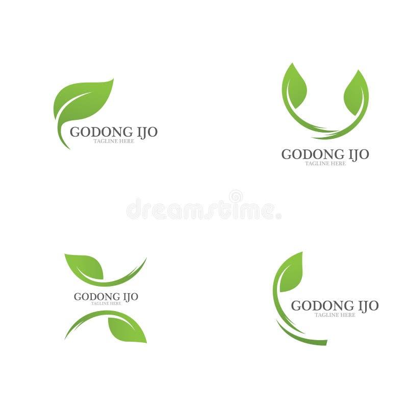 绿色叶子生态商标  皇族释放例证
