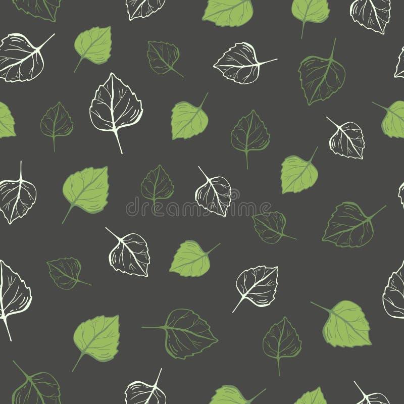 绿色叶子的无缝的样式在黑暗的背景的 向量例证