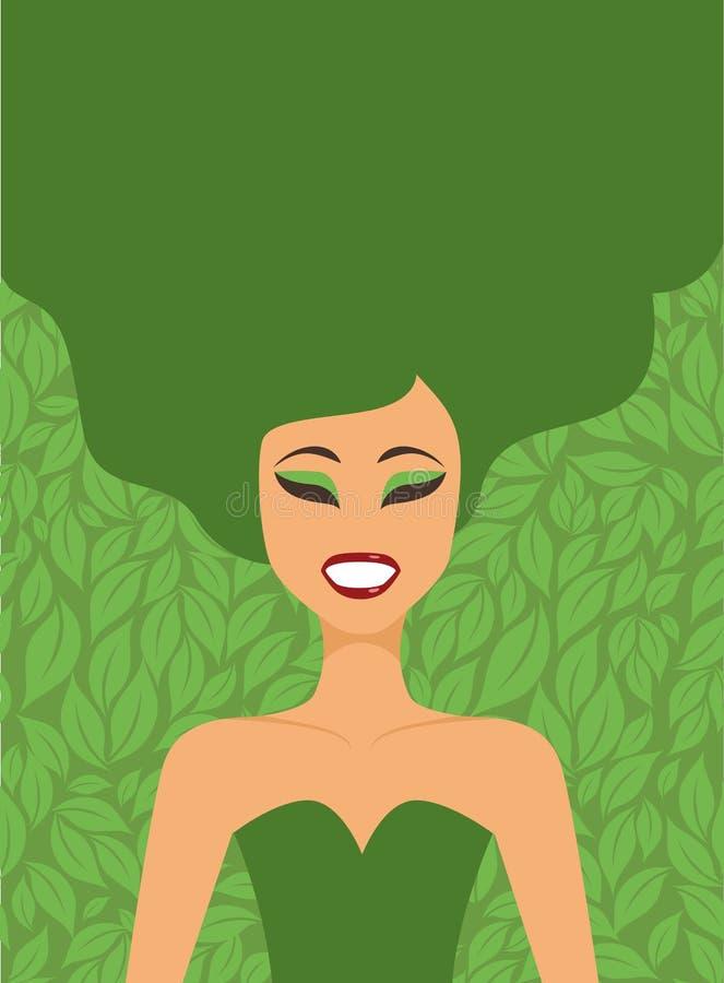 绿色叶子背景的女孩 皇族释放例证