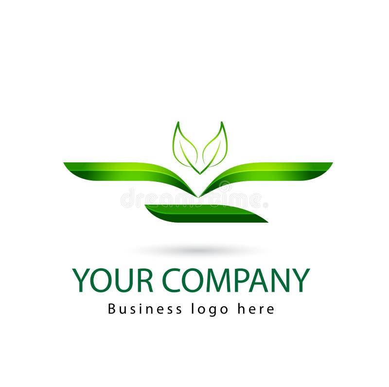 绿色叶子,植物,商标集合,生态,人们,健康,叶子,自然标志象传染媒介设计 向量例证