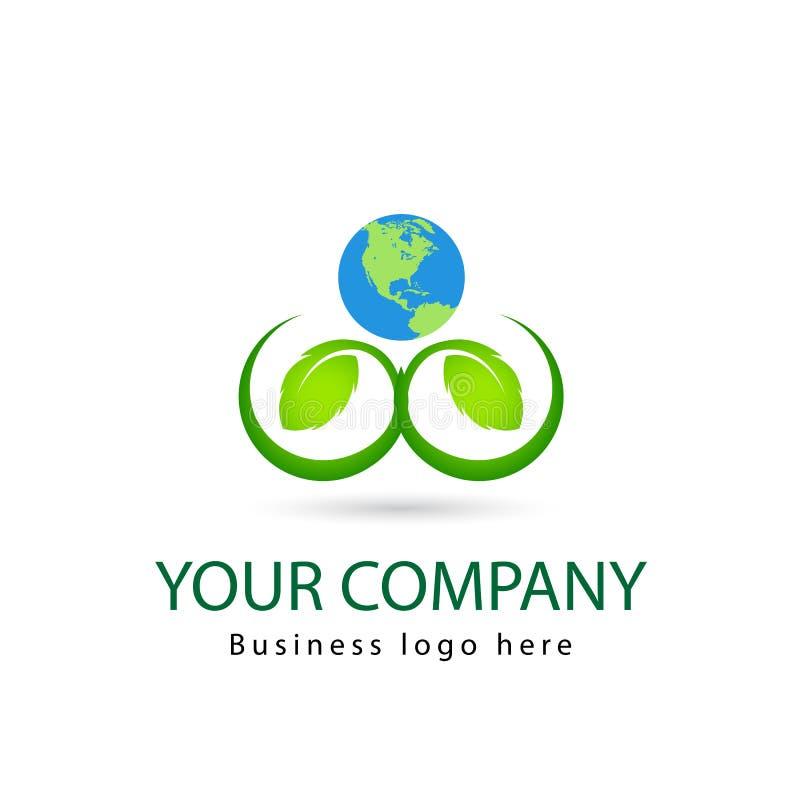 绿色叶子,植物,商标,生态,人们,健康,叶子,自然标志传染媒介设计象套与地球的 向量例证