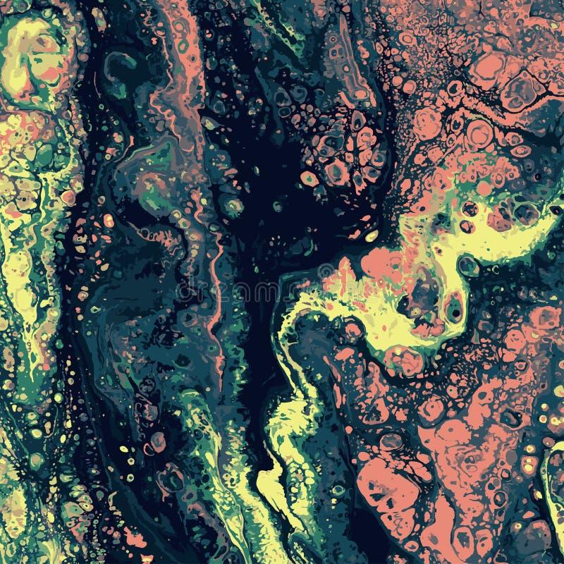 绿色和桃红色传染媒介大理石纹理 递与使有大理石花纹的纹理的凹道绘画与黄色和绿色 摘要 库存例证