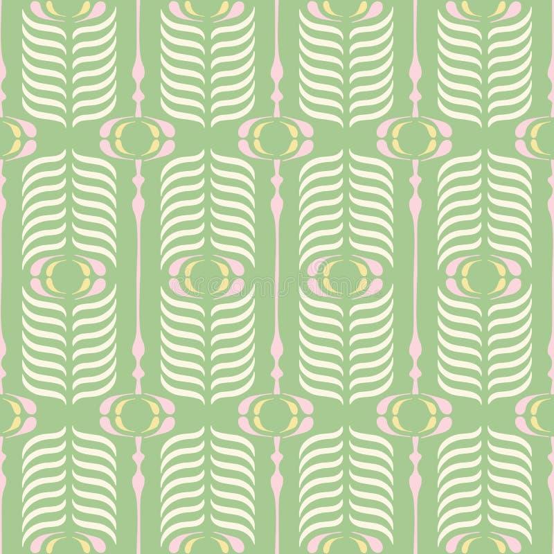 绿色和桃红色减速火箭的Ogee背景传染媒介无缝的样式 现代经典几何样式 奶油色羽毛印刷品 皇族释放例证