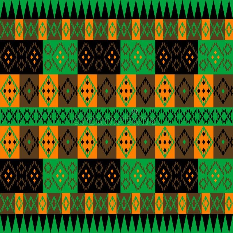 绿色和棕色种族地毯 库存例证