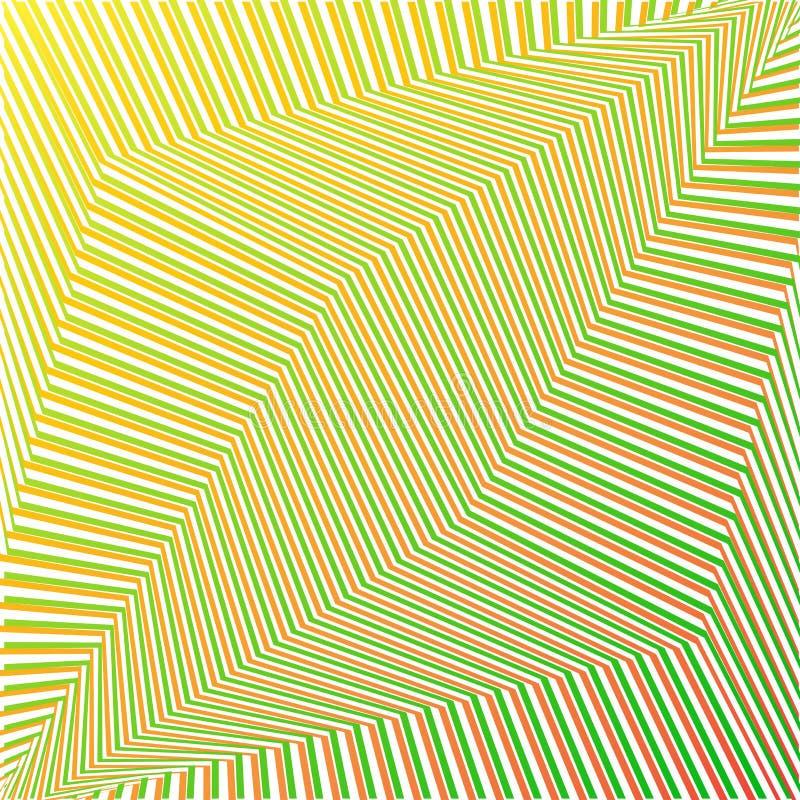 绿色和橙色几何摘要未来派镶边背景 ?? 库存例证