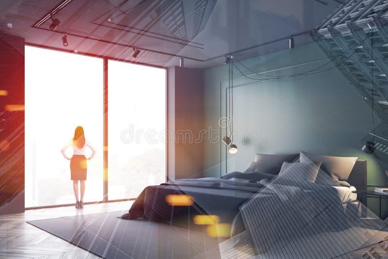绿色和灰色卧室角落的妇女 向量例证