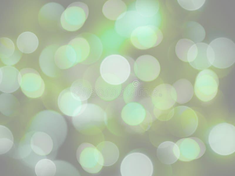 绿色和白色回合发光的明亮的轻的抽象光背景 皇族释放例证
