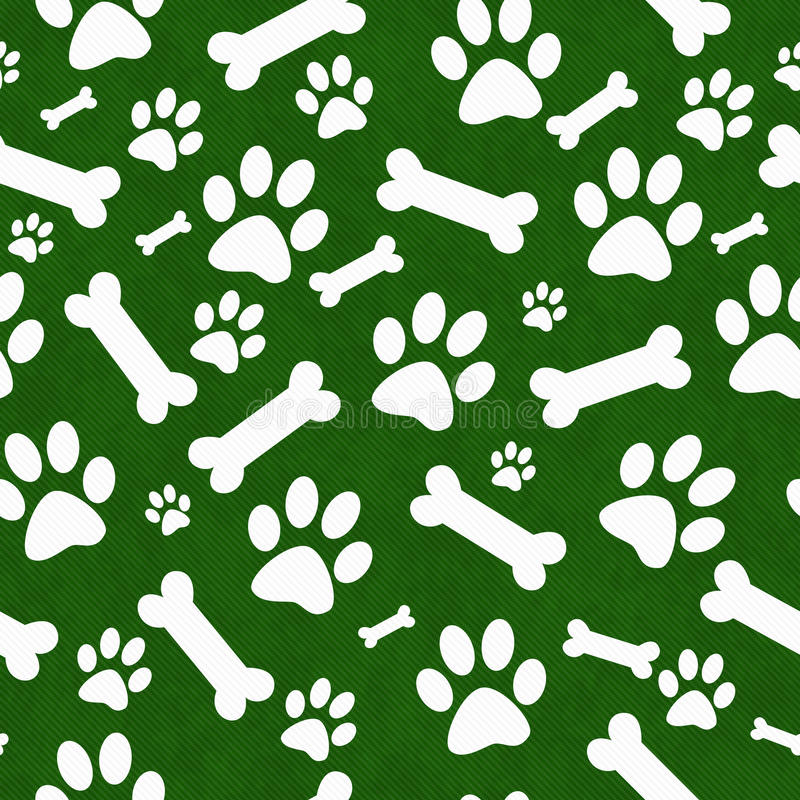 绿色和白色狗爪子印刷品和骨头瓦片样式重复Bac 皇族释放例证