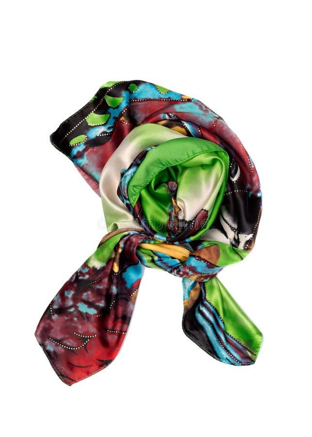 绿色和红色丝绸围巾,孤立 免版税库存照片